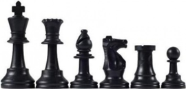 Black plastic chess pieces, King 95 mm