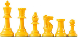 Yellow plastic chess pieces