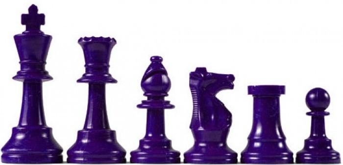 Paarse plastic schaakstukken