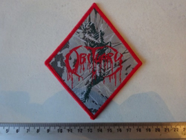 OBITUARY - CAUSE OF DEATH ( DIAMOND SHAPED, RED BORDER ) WOVEN