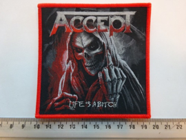 ACCEPT - LIFE'S A BITCH ( RED BORDER ) WOVEN