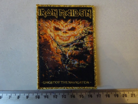 IRON MAIDEN - GHOST OF THE NAVIGATOR ( GOLD BORDER ) WOVEN
