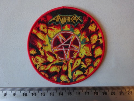 ANTHRAX - WORSHIP MUSIC ( RED BORDER ) WOVEN