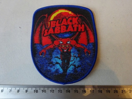 BLACK SABBATH -  NAME + DEMON SHIELD BLUE BORDER (WOVEN )