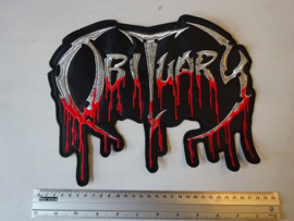 OBITUARY - SILVER/RED BLOODY NAME LOGO