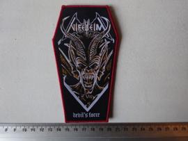 NIFELHEIM - DEVIL'S FORCE COFFIN SHAPED RED BORDER