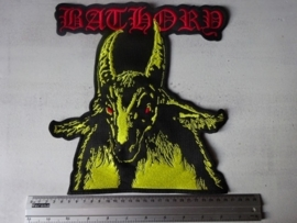 BATHORY - RED LOGO + YELLOW GOAT, RED EYES