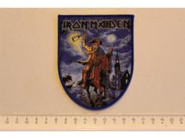 IRON MAIDEN - HERE COMES THE BRITAIN ( BLUE BORDER ) WOVEN