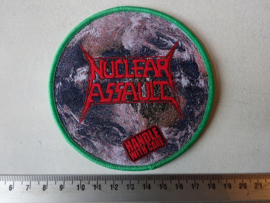 NUCLEAR ASSAULT - HANDLE WITH CARE ( GREEN BORDER ) WOVEN