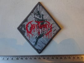 OBITUARY - CAUSE OF DEATH ( DIAMOND SHAPED, GREY BORDER ) WOVEN