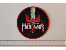MANOWAR - HAIL AND KILL ( RED BORDER ) WOVEN
