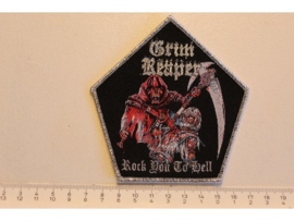 GRIM REAPER - ROCK YOU TO HELL ( SILVER BORDER ) WOVEN