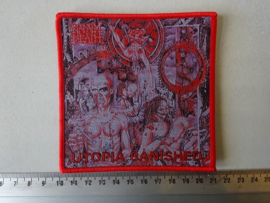 NAPALM DEATH - UTOPIA BANISHED ( WOVEN, RED BORDER )