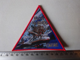 IRON MAIDEN - FLIGHT 666 TRIANGLE ( RED BORDER, WOVEN ) NUMBERED