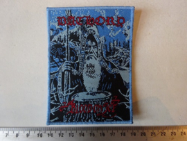 BATHORY - BLOOD ON ICE ( BLUE BORDER ) WOVEN