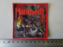 MANOWAR - RETURN OF THE WARLORD ( WOVEN, RED BORDER ) NUMBERED