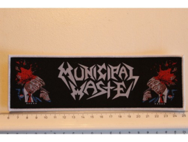 MUNICIPAL WASTE - SHOOTING TRUMP ( WHITE BORDER ) WOVEN STRIPE