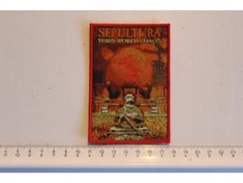 SEPULTURA - THIRD WORLD CHAOS ( RED BORDER ) WOVEN
