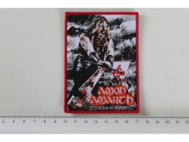 AMON AMARTH - THIS IS WAR ( RED BORDER ) WOVEN