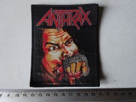 ANTHRAX - FISTFUL OF METAL ( BLACK BORDER ) WOVEN, DIFFERENT.