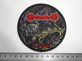 ENTOMBED - CRAWL ( RED NAME, BLACK BORDER ) WOVEN