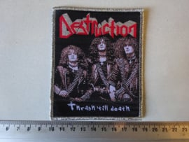 DESTRUCTION - THRASH TILL DEATH  ( SILVER GLITTER BORDER ) WOVEN