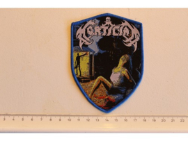 MORTICIAN - CHAINSAW DISMEMBERMENT ( BLUE BORDER ) WOVEN