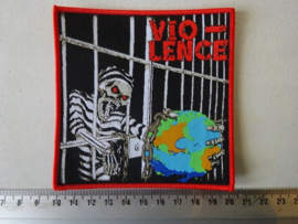 VIO-LENCE - NO CHAINS TO THE WORLD ( WOVEN, RED BORDER ) NUMBERED