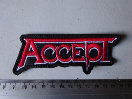 ACCEPT - RED/WHITE NAME LOGO ( SHAPED )
