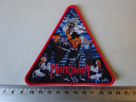 MANOWAR - THE LORD OF STEEL ( RED BORDER ) TRIANGLE WOVEN
