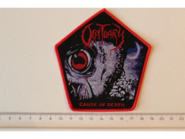 OBITUARY - CAUSE OF DEATH ( RED BORDER ) WOVEN. DIFFERENT