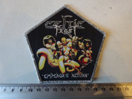 CELTIC FROST - EMPEROR'S RETURN ( SILVER GLITTER BORDER ) WOVEN