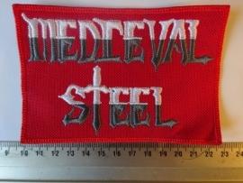 MEDIEVAL STEEL - WHITE/GREY LOGO ( RED BORDER )