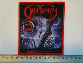 OBITUARY - CAUSE OF DEATH ( RED BORDER ) WOVEN