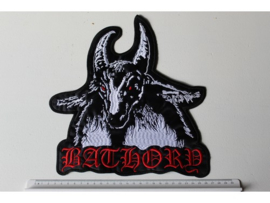 BATHORY - WHITE GOAT, RED NAME LOGO, RED EYES