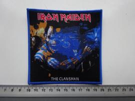 IRON MAIDEN - THE CLANSMAN ( BLUE BORDER ) WOVEN