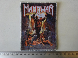 MANOWAR - HELL ON EARTH ( WOVEN, GLITTER SILVER BORDER ) HANDNUMBERED