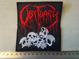 OBITUARY - RED NAME LOGO + SKULLS ( BLACK BORDER )
