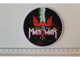 MANOWAR - HAIL AND KILL ( WHITE BORDER ) WOVEN