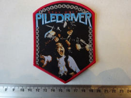 PILEDRIVER - STAY UGLY ( RED BORDER ) WOVEN