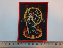 SLAYER - HANNEMAN IN THE RING OF FIRE ( RED BORDER ) WOVEN