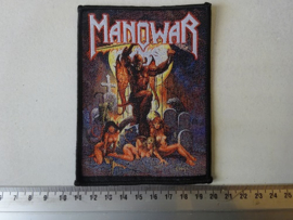 MANOWAR - HELL ON EARTH ( WOVEN. BLACK BORDER ) HANDNUMBERED