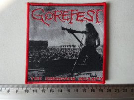 GOREFEST - THE EINDHOVEN INSANITY ( WOVEN ) RED BORDER