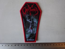 OBITUARY - CAUSE OF DEATH ( COFFIN SHAPED, RED BORDER ) WOVEN