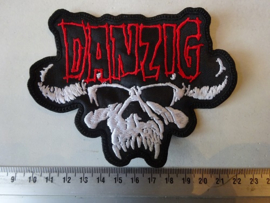 DANZIG - RED NAME + WHITE SKULL