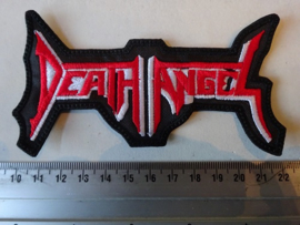 DEATH ANGEL - RED/WHITE NAME LOGO ( SHAPED )