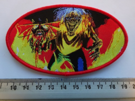 IRON MAIDEN - NUMBER OF THE BEAST ( RED BORDER ) OVAL WOVEN