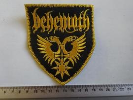 BEHEMOTH - GOLD NAME LOGO + WINGS ( YELLOW BORDER )