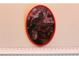 IRON MAIDEN - KILLERS ( RED BORDER ) WOVEN, OVAL.