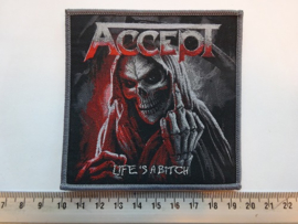 ACCEPT - LIFE'S A BITCH ( GREY BORDER ) WOVEN